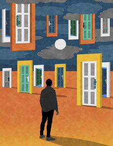 Man with choice of doors in desert and in sky