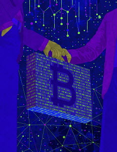Businessmen exchanging bitcoin briefcase