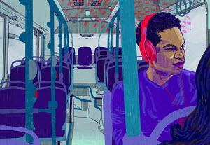 Man on bus listening to headphones