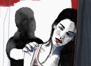 Shadowy man grabbing unhappy woman