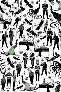 People and bizarre creatures with eyes and surveillance devices as heads