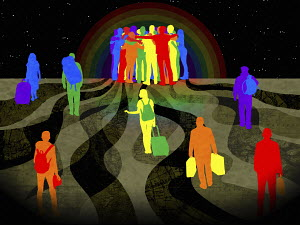 People crossing the world to gather together