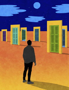 Man with choice of doors in desert