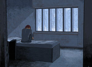Depressed woman in bleak room
