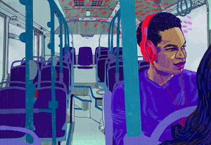 Man on bus listening to headphones