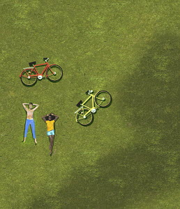 Overhead view of couple sunbathing on grass beside bicycles
