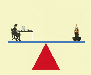 Work life balance with woman on seesaw