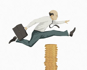 Businessman jumping over pile of money