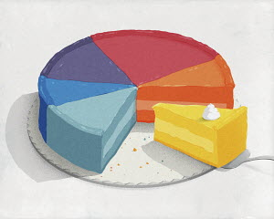 Cake slice taking piece of pie chart pie