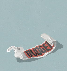 Euro sign being squeezed from empty budget toothpaste tube