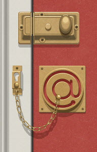 Door security chain in shape of @ symbol