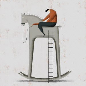 Dejected man on top of tall rocking horse