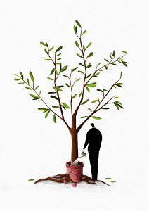 Businessman watering tree with roots breaking pot