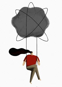 Woman on swing below atom symbol cloud