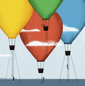 Business people climbing ladders into hot air balloons