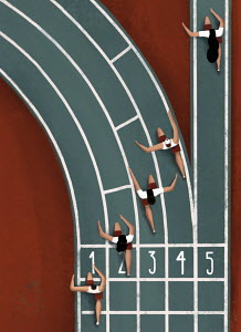 Overhead view of woman running in straight lane on bend in athletics track