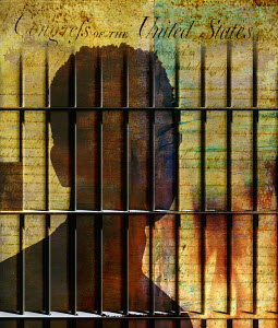 The United States Bill of Rights and a young man behind prison bars