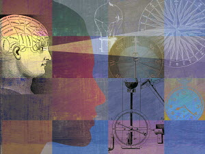 Phrenology head in montage with compasses, light bulb and stopwatch