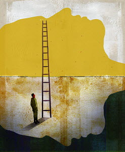 Man at bottom of ladder leading from face looking down to face looking up