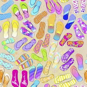 Full frame pattern of multicoloured flip flops