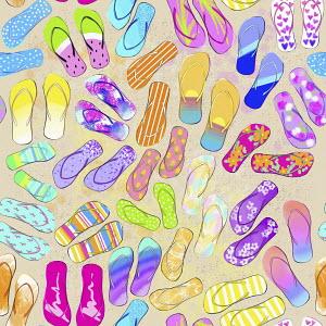 Full frame pattern of multicoloured flip flops