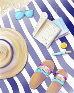 Feminine accessories on beach mat