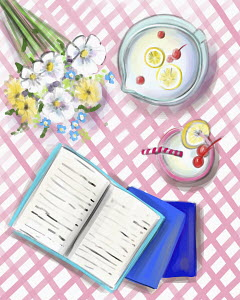 Books, flowers and summer drink on gingham cloth