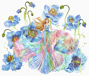 Woman in flowing multicoloured dress among huge flowers