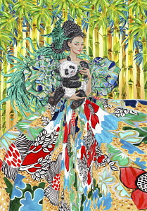 Fashion model in elaborate dress posing with panda cub and bird of paradise
