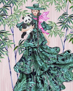 Fashion model in elaborate dress posing with panda cub