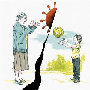 Boy throwing ball and grandmother catching coronavirus