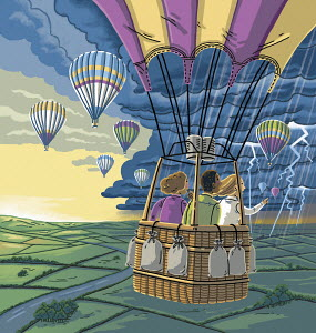 Children in hot air balloon heading for stormy weather