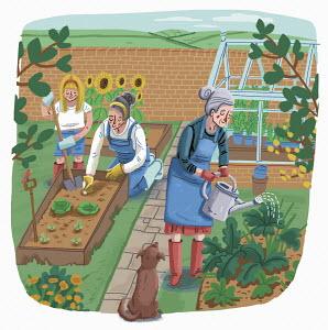 Three generations gardening together