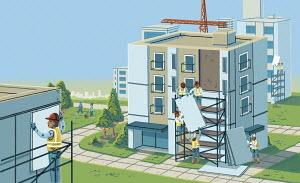 Workmen refurbishing blocks of flats