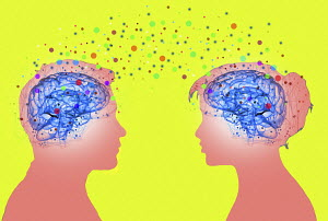 Colourful dots connecting brains of couple