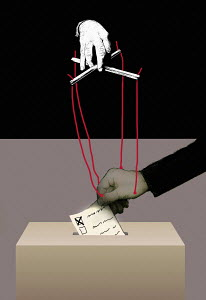 Puppeteer manipulating man's vote