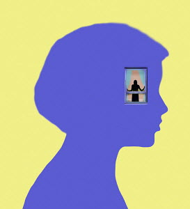 Figure looking out from window inside head