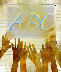 Hands reaching towards ABC on whiteboard