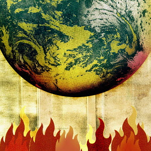 Planet earth, flames and global warming