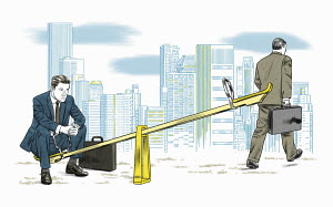 Businessman leaving colleague alone on seesaw