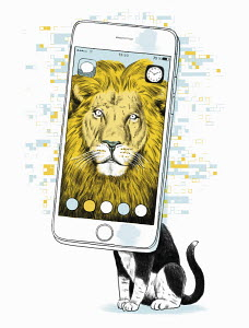 Domestic cat with lion as online profile