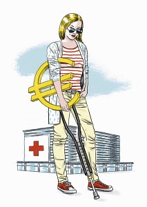 Hospital patient with euro sign crutch