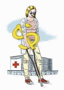 Hospital patient with dollar sign crutch