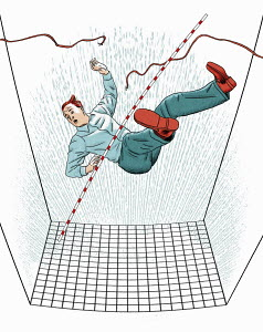 Businessman falling from broken tightrope into safety net