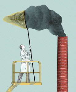 Scientist capturing pollution from chimney in net