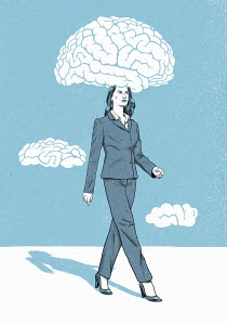 Businesswoman with head in brain cloud