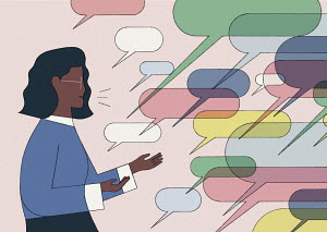 Woman communicating with lots of speech bubbles