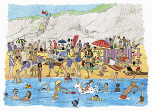 Lots of people on crowded summer beach