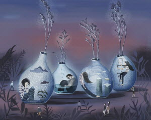 Depressed people trapped inside of flower vases
