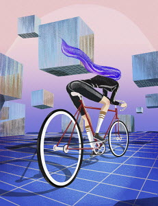 Female cyclist on racing bike in geometric landscape